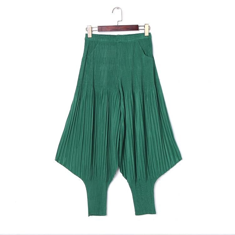 Suelta Elástica Mujeres Sze azul Cintura Yardas Grandes Women'pants Harem verde Pantalones De Las Moda Negro Pliegue Verano Changpleat Plus Plisada gris Pantimedias Miyak pZqA4A