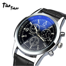 TIke Toker,HOT SALE 2018 Top Brand Luxury Fashion Faux Leather Watches Mens Blue