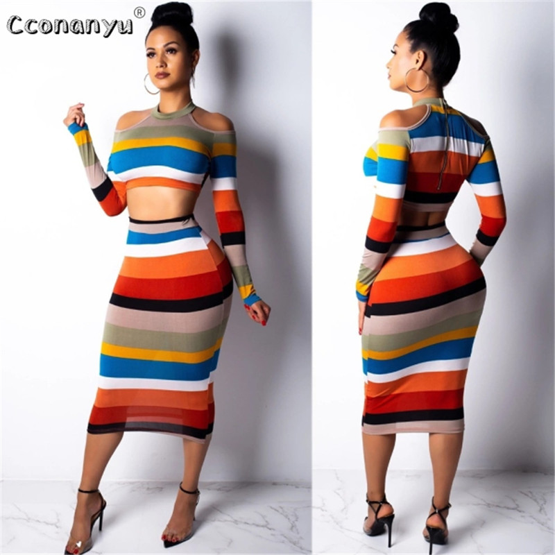 2019 Two Piece Set Women Crop Top Sexy Off Shoulder Slim Bodycon Nigthclub Pencil Dress Women Long Sleeve 2 Piece Outfits