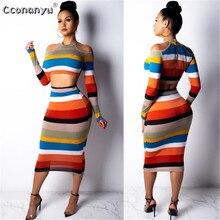 цена на 2019 two piece set women crop top Sexy Off Shoulder Slim Bodycon Nigthclub Pencil Dress women Long Sleeve 2 piece outfits