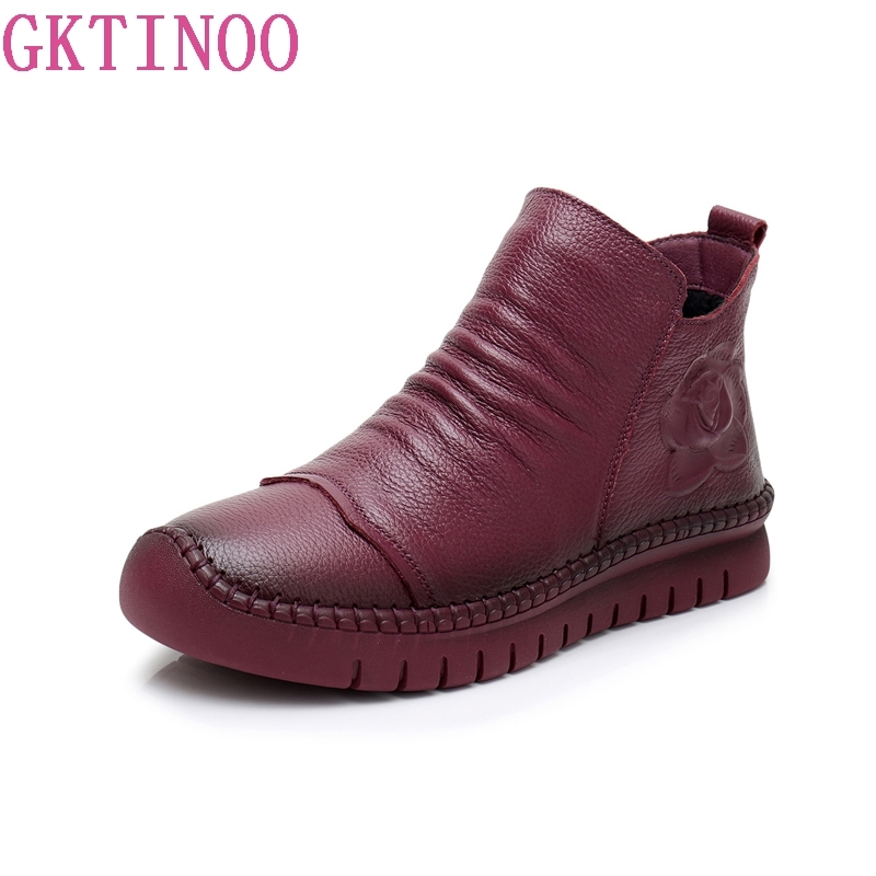 GKTINOO 2018 New Women Snow Boots Handmade Sewing Genuine Leather Ankle Boots Soft Bottom Women Autumn Winter Warm Casual Shoes huizumei new genuine leather women s boots autumn and winter shoes retro handmade round toe soft bottom rubber ankle ladies boot