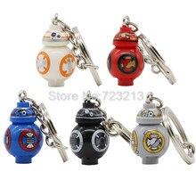 Única Venda de Star Wars BB8 BB-8 BB9E Figura 2.5 cm Dolls Keychain Anel Chave Modelos de Conjuntos de Blocos de Construção Tijolos starwars brinquedos