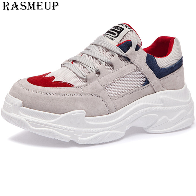 RASMEUP Genuine Leather Platform Women s Sneakers 2019 Spring Comfortable Women Chunky Shoes Woman Trainers Ladies