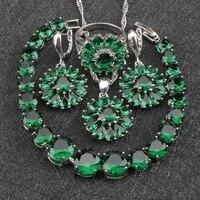 Classic 925 Sterling Silver Jewelry Sets For Women Green Garnet Earrings Rings Pendant Necklace Bracelets Free