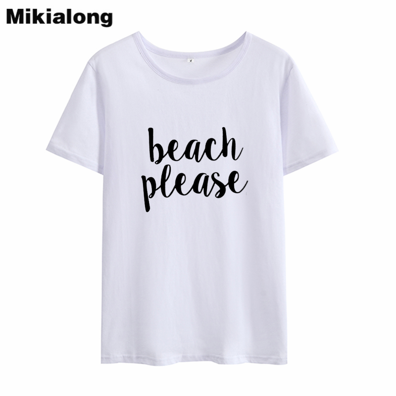 Mikialong 2018 BEACH PLEASE Punk Rave Style Tshirts Women T-shirt Femme Summer New Arrival Harajuku Wome T Shirt Short Feminino