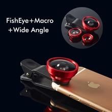3 in 1 Fish Eye Wide Angle Macro Fisheye Lens Lente Olho de Peixe Para For iPhone 6s 6 plus 5s Samsung note 5 4 3 S5 Len Lentes цена