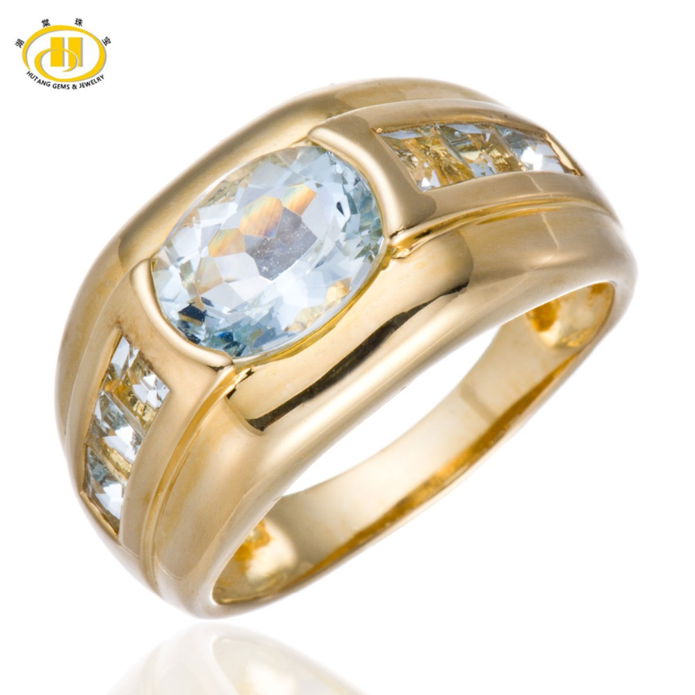 Hutang Stone Jewelry Natural Aquamarine Solid 925 Sterling Silver Rings for Women Men Fine Fashion Gemstone Jewelry For Gift