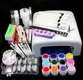Pro 36W UV GEL Pink Lamp & 12 Color UV Gel Nail Art Tool Kits Sets