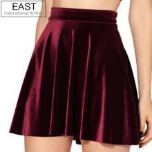 Восточное Вязание, женские бархатные плиссированные юбки с высокой талией, новая мода, бархатная черная короткая сексуальная юбка для скейтера, 3 цвета размера плюс
