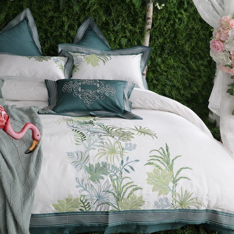 IvaRose Новый 1000TC из египетского хлопка роскошные Постельное белье зеленый белый король queen Размер Декоративные кровать набор подушек простын