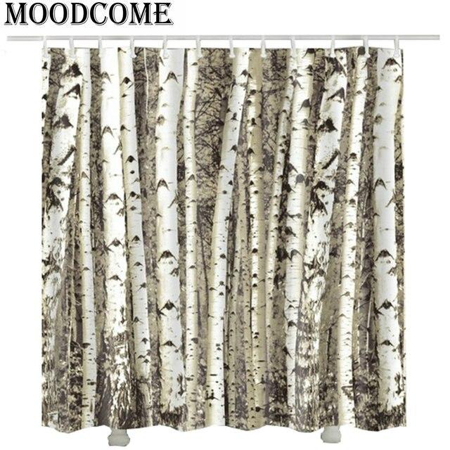 Birch Tree Shower Curtain Waterproof Bathroom Cortina Ducha Rideau Douche 2017 New Elegant Curtains
