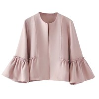Women Sweet Jacket Open Stitch Design Coats Solid Lady Elegant Casual Outerwear Tops Autumn Spring