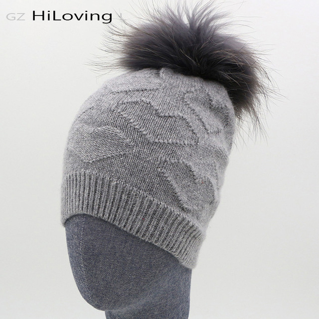 2016 New Women Winter Warm Beanies Hat Girls Knitted Wool Rabbit Fur Hat With Real Fur Pompom Beanie Hats Caps With Love Charm