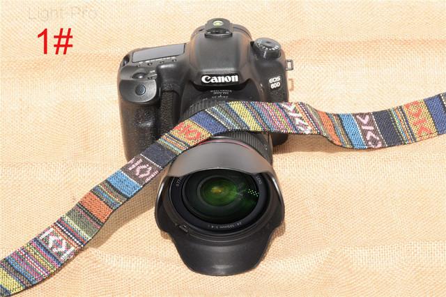 TS-MU Retro Style Double Cotton Yard Colorful Pattern Camera Shoulder Neck Sling Hand Strap Belt