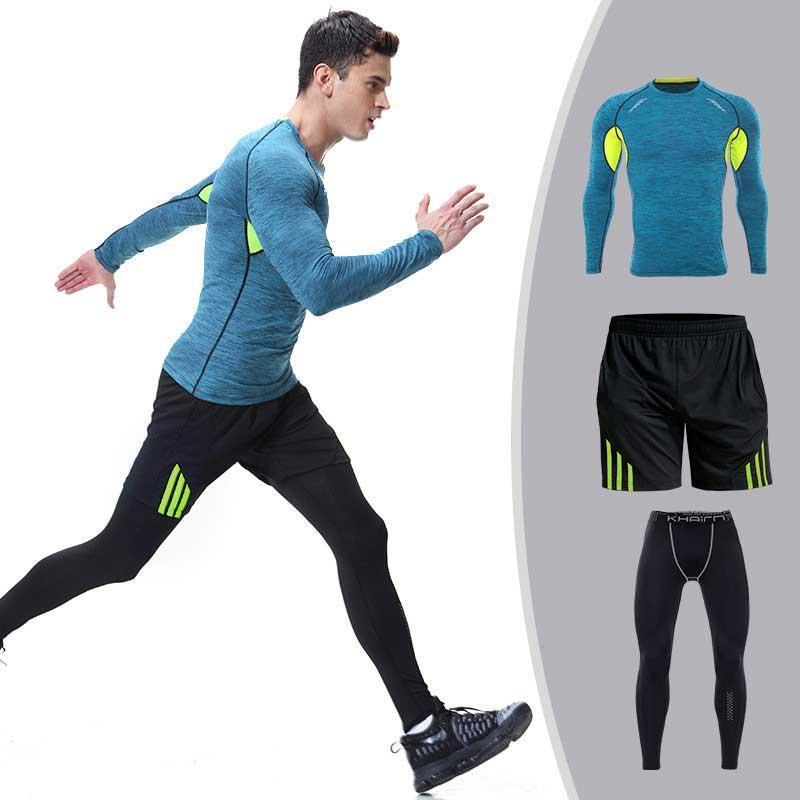 3 предмета Для мужчин быстросохнущая сжатия кальсоны Фитнес Gymming мужские зимние спортивные работает тренировки комплекты термобелья S106