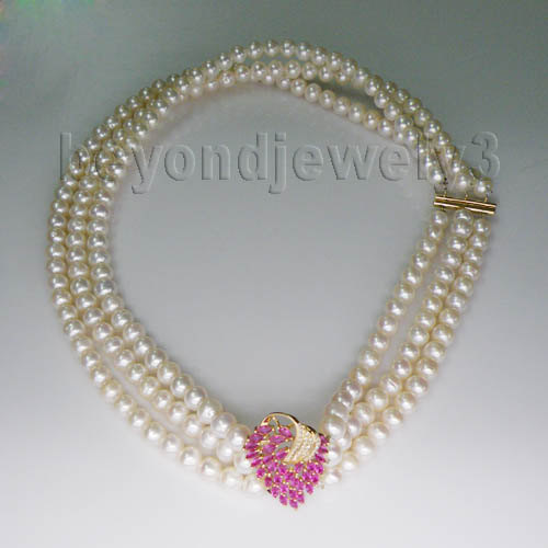 Vintage Necklaces!18Kt Yellow Gold Diamond Pink Ruby Natural Pearl Necklaces For Women E00153A