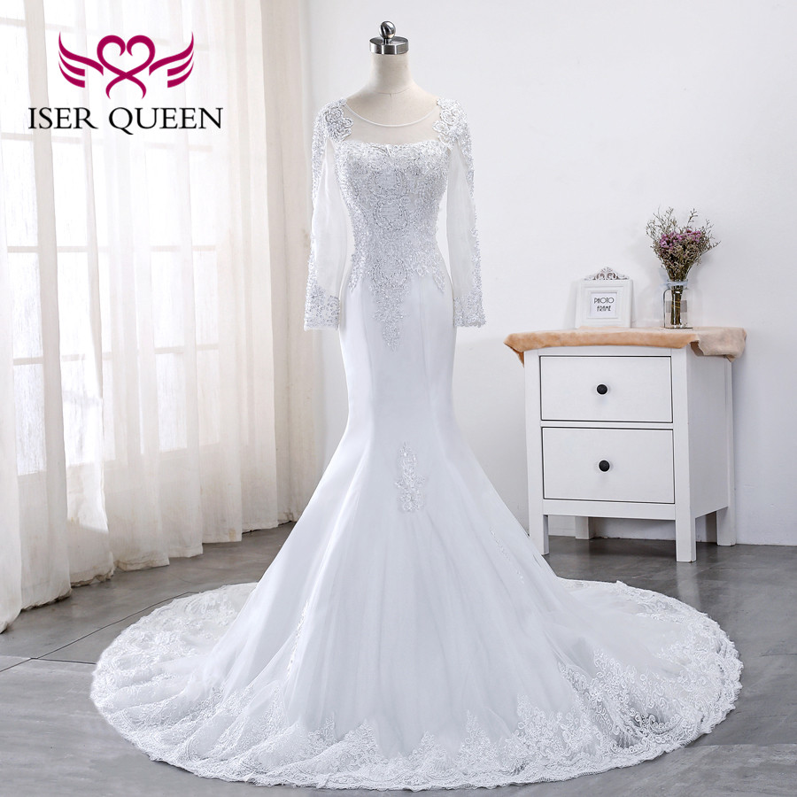 Luxury Beading Full Sleeves 2020 New Lace Mermaid Wedding Dresses Appliques Plus Size Pure White Wedding Gowns China WX0015