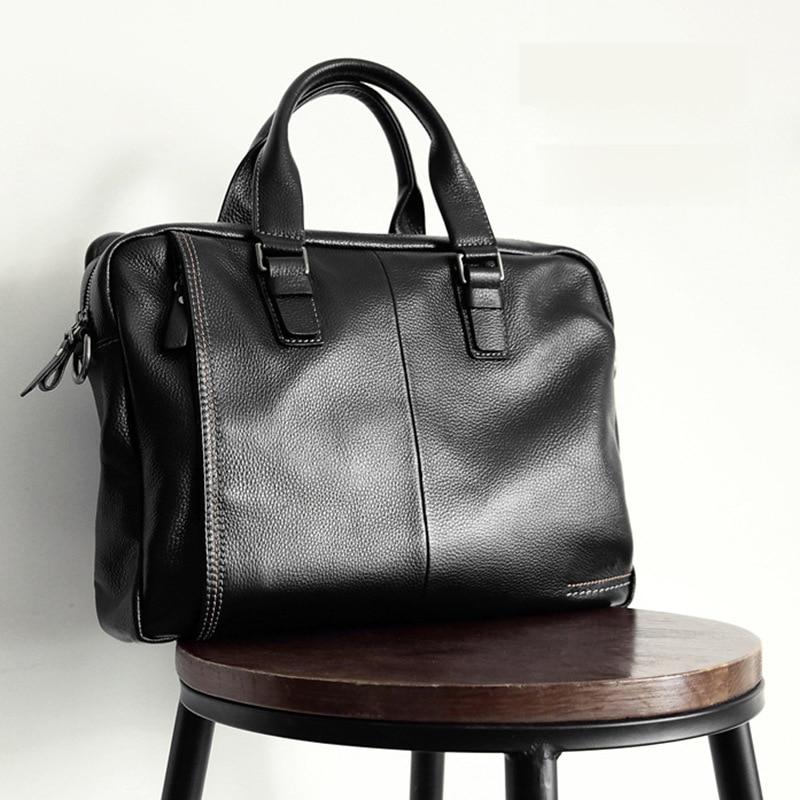 Men's Genuine Leather Briefcase Men Bag Business Handbag 14 Inch Laptop Shoulder Messenger Bags Tote Natural Skin Men Briefcases