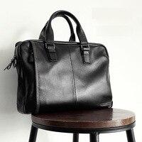 men's Genuine Leather Briefcase Men Bag Business Handbag 14 Inch Laptop Shoulder Messenger Bags Tote Natural Skin Men Briefcases Men's Backpacks