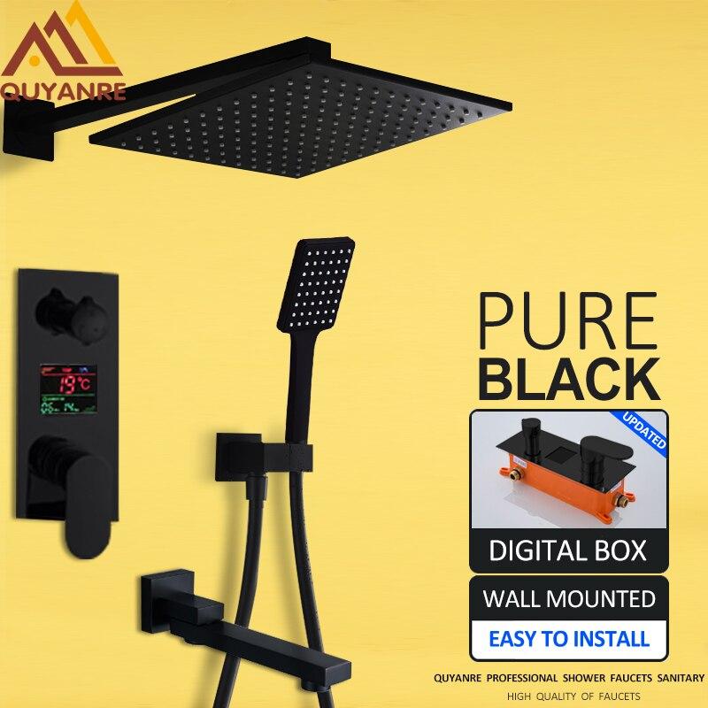 Quyanre 3 way Black Digital Shower Faucets Set Rainfall Shower Head Digital Temp Display Mixer Tap