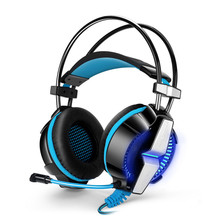 2017 White Blue G7000 7.1 USB Super Bass Surround Gaming Headphones with Microphone Vibration Headset LED Light for Computer PC