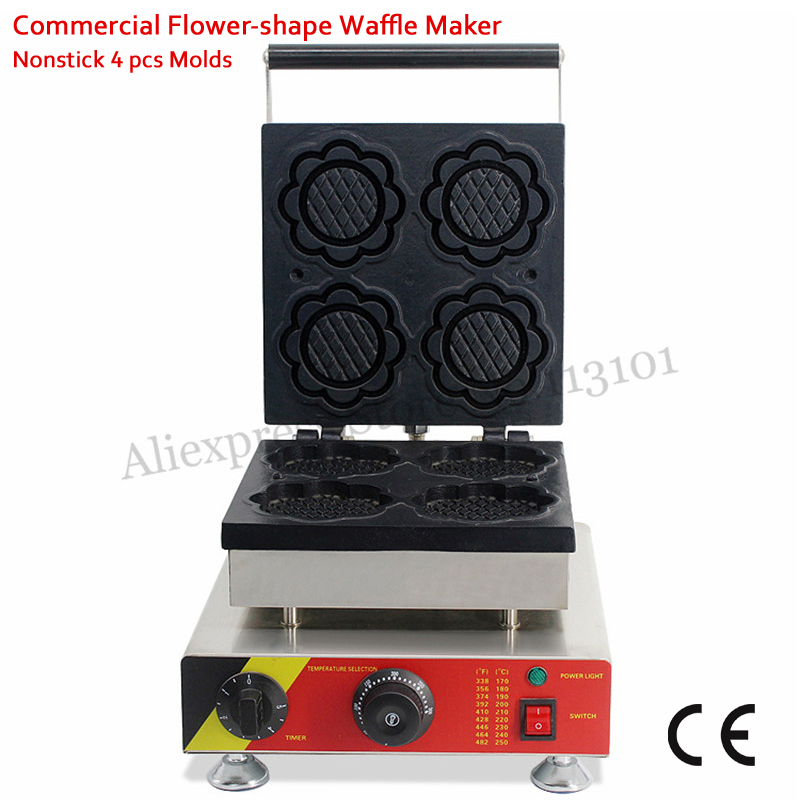 Ice Cream Bowl Waffle Maker Commercial Flower-shape Cake Machine Nonstick 4 Molds 1500W Commercial and Home Use