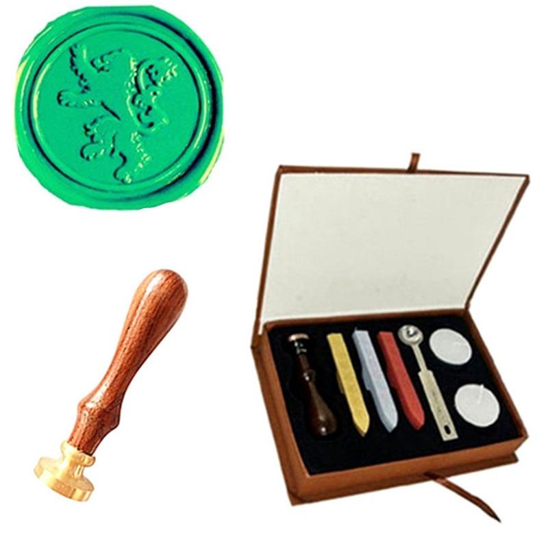 Custom Picture Logo Lion Wedding Wax Seal Stamp Sticks Box Set Kit Vintage kitlee40100quar4210 value kit survivor tyvek expansion mailer quar4210 and lee ultimate stamp dispenser lee40100