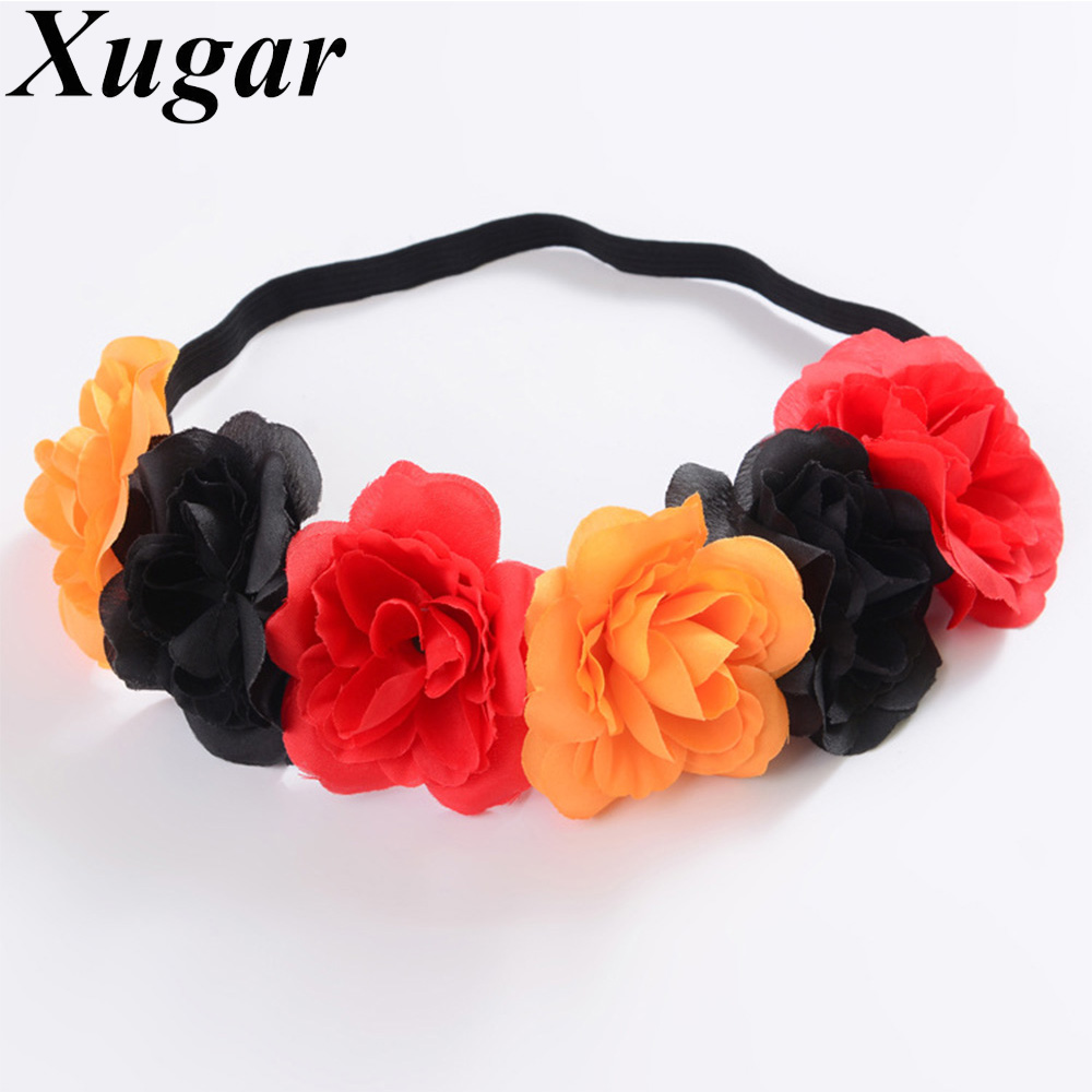 Women Mixed Colors Simulation Flower Headband with Elastic Band For Girls Halloween Christmas Scrunchy Hairband Hair Accessories 2017 new brand hair band turban elastic headband bandage fashion women elastic headband velvet cross twist headband