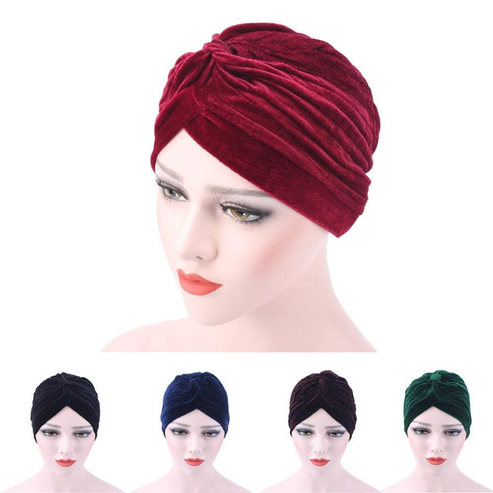 Scarfs For Ladies Muslim Scarves Casual Scarf Women Summer Adult Women Velvet Muslim Scarf Turban Head Wrap Cap  W417