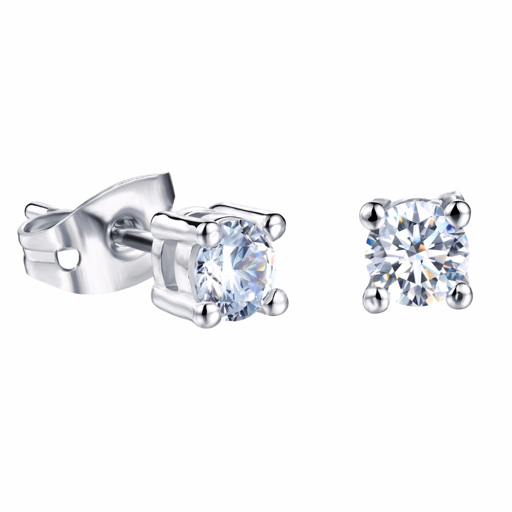 Platinum Plated Woman Stud Earrings Fashion AAA Cubic Zirconia Women Jewelry Earring 4mm/6mm/8mm 3 <font><b>Choices</b></font> Allergy free shipping