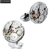 HAWSON Mechanical Watch Mens Cufflinks Wedding Party Gift Non-Removable Movement Cuff links Button