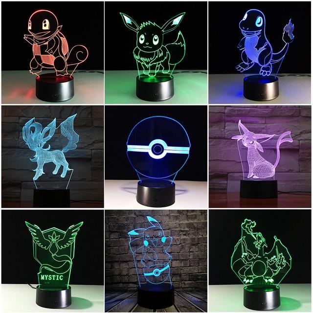 Chaohui Pokemon Go Action Figure RGB 3D LED Lamp Pikachu Eevee Turtle Bird Fire Dragon Pokeball Ball Kids Toys Luminaria Light