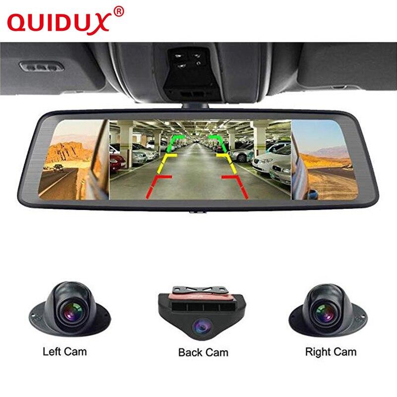 QUIDUX 10 Tactile ADAS Android 5.1 Plein 1080 p Voiture Dash Cam 4g Vidéo Enregistreur rétroviseur avec DVR Caméra 8 Core 4 Canal