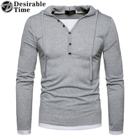 Long Sleeve Hooded T Shirt Men Euro Size S XXL Mens Casual T Shirts Fashion 2018