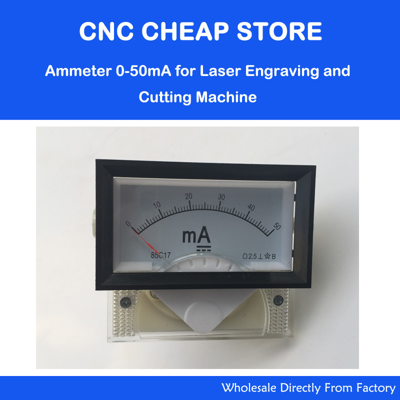 Measuring 85C17 DC 0-50MA Analog Panel Meter Ammeter Amperemeter DIY CO2 Laser Cutting Engraving Machine