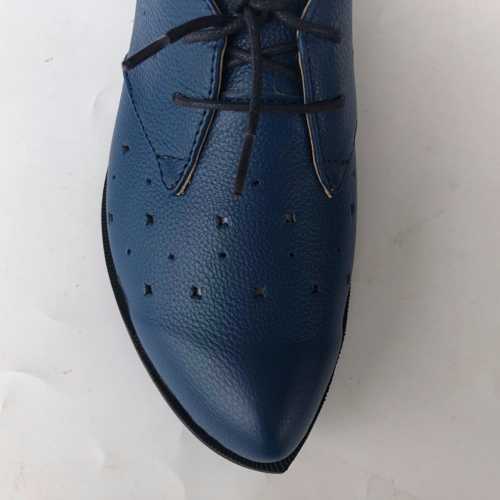 New 2017 spring,Genuine leather shoes,Pure handmade flat shoes,Women the retro art mori girl shoes ,Hollow blue leather shoes