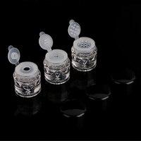 10/50 יחידות 2 גרם 3 ML צנצנת אבקה רופפת עם להעיף שחור + נקה פלסטיק ריק העגול מכונת נפוי כלי DIY קוסמטי מכולות צנצנת אריזת אבקה