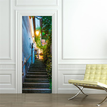 European Town Alley Street Scene Sticker Vinyl Wall Decal Entrance Removable Art Home Mural Decor For Door