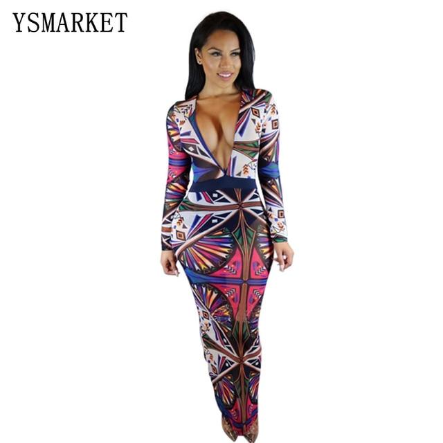 0ddff032ae0 Autumn Fall Women Deep V Neck Long Sleeve African Print Maxi Dress Casual  Straight retro vintage Print Kaftan Long Dress E6059