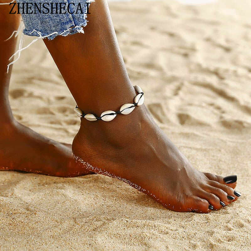 Anklets for Women shell Foot Jewelry Summer Beach Barefoot Bracelet ankle on leg Female Ankle strap Bohemian Accessories ns39
