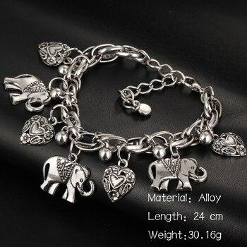 IF ME Vintage Bohemian Gold Color Elephant Heart Charms Bracelets for Women Fashion Chain Gift Pulseira Feminina Jewelry 2