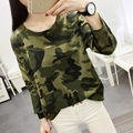 Fashion Women Camouflage T Shirt Casual Long Sleeved Loose Tops Plus Size Cheap Autumn Winter Hole Design Basics Blusa For Gils