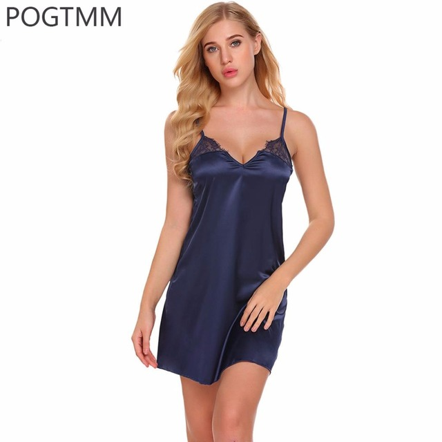 b558be7a1e6 US $15.36 |Summer Sexy Satin Sleepwear Nightgown Women Backless Lace Night  Gown Sleeping Dress Lady Short Mini Babydoll Chemise Red Nighty-in ...