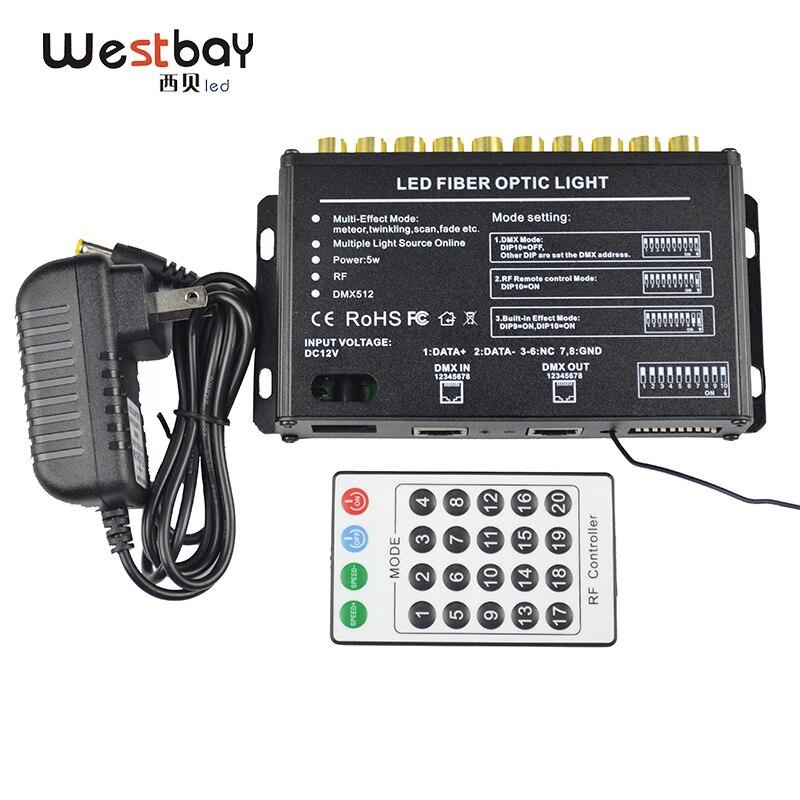 Westbay 10 Ports White LED Light Engine AC100-240V RF Remote DMX LED Optic Fiber Light Driver For DIY Meteor Ceiling Star
