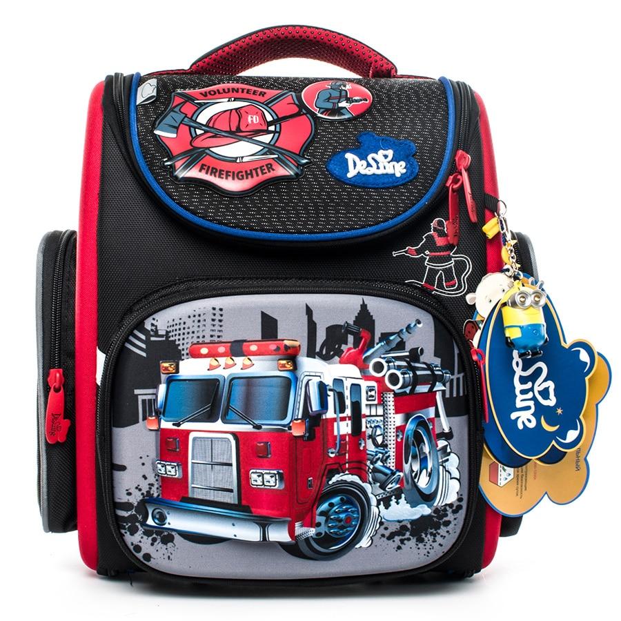 Delune Fire Truck Pattern School Bags For Boys Girls Cartoon Backpack Children Orthopedic Backpacks Mochila Infantil