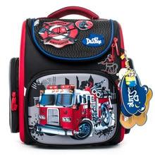 Delune Fire Truck Pattern School Bags For Boys Girls Cartoon Backpack Children Orthopedic Backpacks Mochila Infantil Grade 1-5