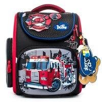 Delune Fire Truck Pattern School Bags For Boys Girls Cartoon Backpack Children Orthopedic Backpacks Mochila Infantil Grade 1 5