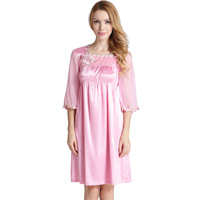 Elegant Square Collar Embroidery Silk Nightgown Chiffon Half Sleeved Nightdress Satin Sleepwear Women Nightwear