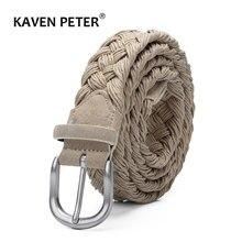 Ceinture tricotée en cuir et daim pour hommes, avec corde de cire, tressée, boucle argent Antique sans trous, en coton tissé, Beige