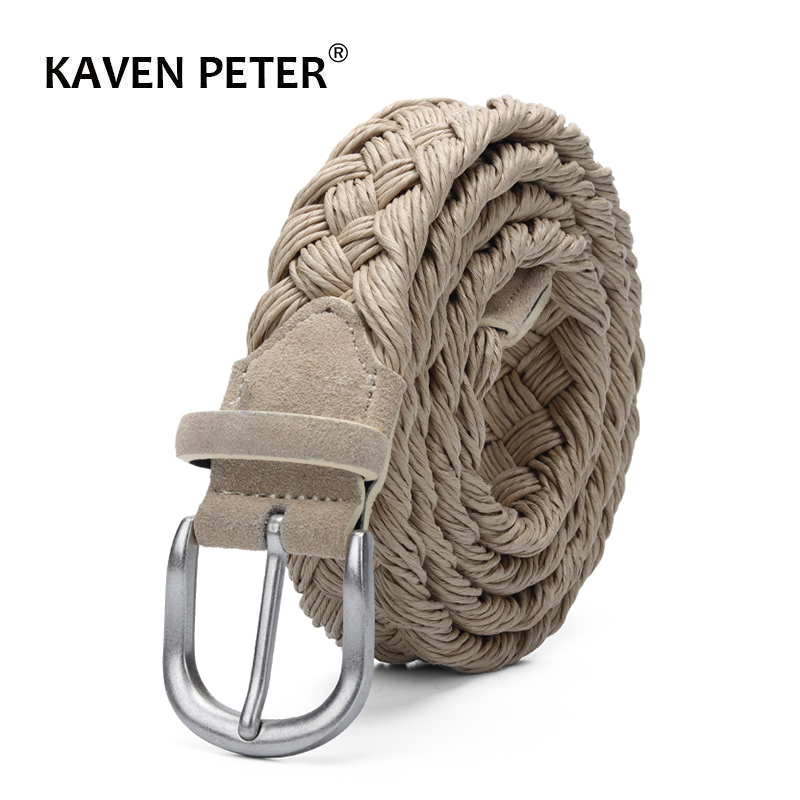 Men Suede Leather Knitted   Belt   With Wax Rope Braided Strap Antique Silver Buckle Without Holes Cotton Weave Handwork   Belts   Beige